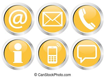 six contact us icons button set - Contact Us, set of six...