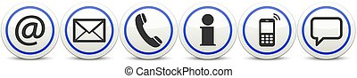 six contact us icons button set - Contact Us, set of six ...