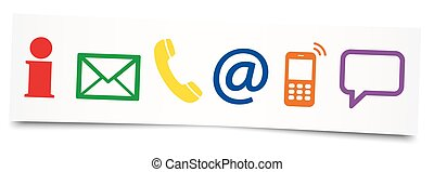 six contact us icons on sticky note