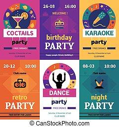 six, couleur, fête, affiches