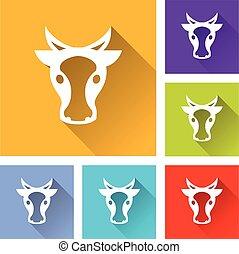 six cow head icons