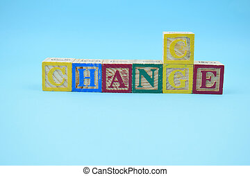 six cubes with letters turning the word change to chance