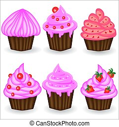 Six cupcakes with pink cream, berries and powder. Sweet, dessert