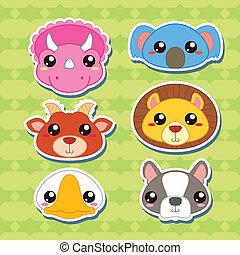 Six Cute Cartoon Animal Head Stickers - six cute cartoon...