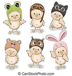 Six cute chicks