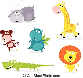 Six cute safari animals - giraffe, - Vector cartoon...