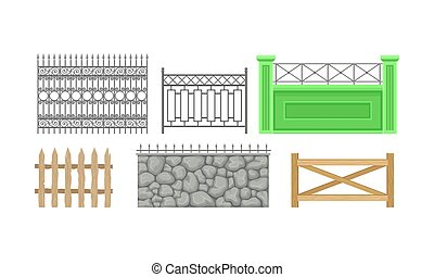 Six Decorative Fence With Different Design Vector Illustration Set