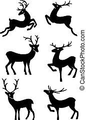Six deer silhouettes