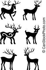 Six deer standing vector