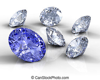 Six diamonds - Blue and white  diamonds on white background