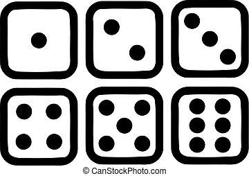 Six dice icons