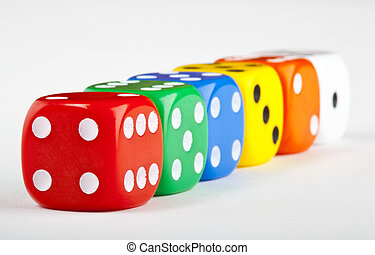 Six Dice over a white background.