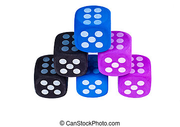 Six dice stacked