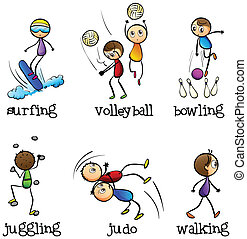 Six different activities - Illustration of the six different...