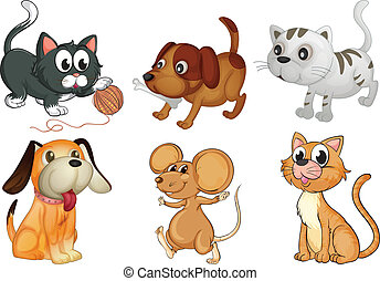Six different animals with four legs - Illustration of six...