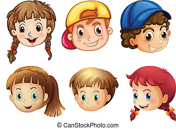 Illustration of the six different faces on a white background