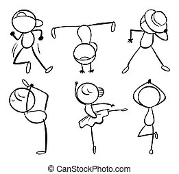 Six different kinds of dance moves - Illustration of the six...