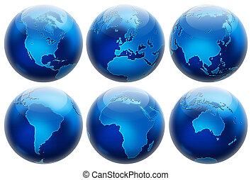 Six different positions globes isolated on white. In blue...