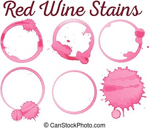 Six diffferent red wine stains illustration