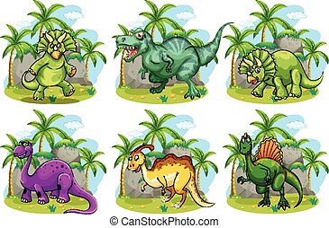 Six dinosaurs in the forest