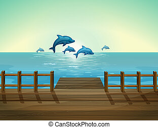 Six dolphins diving - Illustration of the six dolphins...