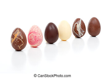 Six easter eggs angled on white