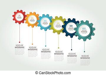 Six elements chart, scheme, diagram, timeline. 6 Infographic template.