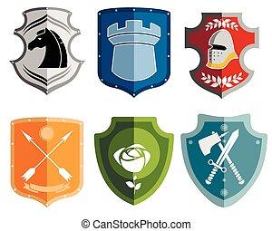 Six emblems set