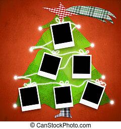 Six empty photo frames Christmas tree card - Christmas...