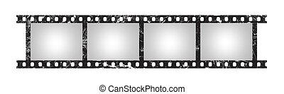 Six empty retro frames of 35 mm film strip