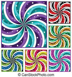 six, ensemble, coloré, sunbursts