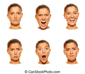 Six faces - A set of six faces showing different emotions
