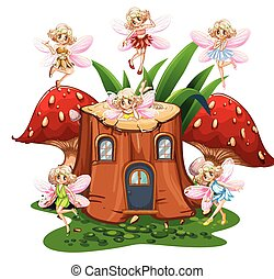 Six fairies flying around log home in garden