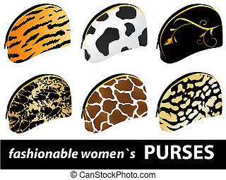 six fashionable women`s purses
