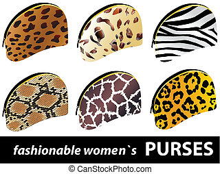 six fashionable women`s purses