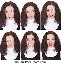 six female face expressions on the white background