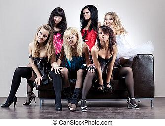 six, femmes, équipe