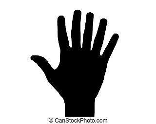 six fingers hand - black silhouette of a hand with six...