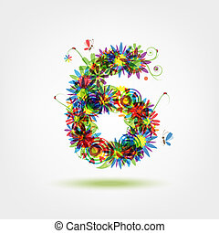 Six, floral number for your design