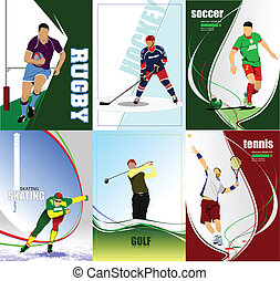 six, football, glace, ho, sport, posters.