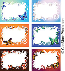 Collection of six colorful frames with butterflies