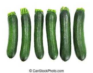 six fresh zucchini