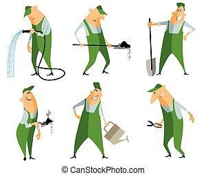 Six gardeners set - Vector illustration of a six gardeners ...