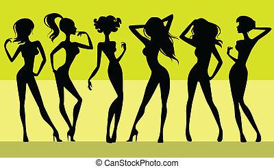 Six girls silhouettes