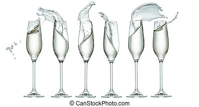 six glasses with splashes of champagne isolated on white