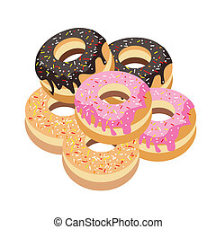 Six Glazed Donuts Assortment on White Background - Food and...