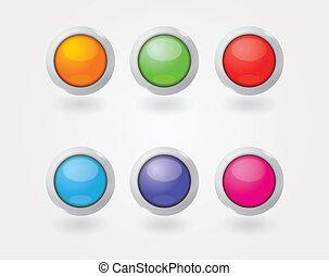 six glossy buttons set