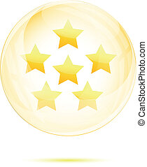 Six golden star in the glass sphere