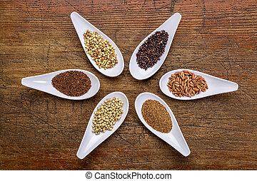 six healthy, gluten free grains