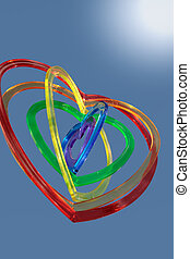 six heart shapes floating with sun